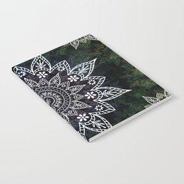 Rising Soul Mandala Design White Blue Green Notebook