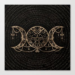 Triple Moon - Triple Goddess Gold and black Canvas Print