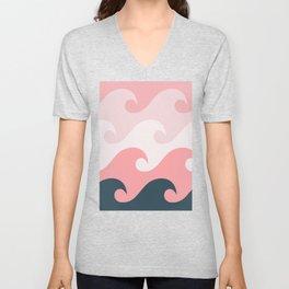 Pink Ocean Waves Unisex V-Neck