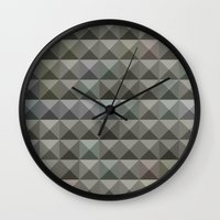 allison argent Wall Clocks featuring Argent Grey Abstract Low Polygon Background by patrimonio