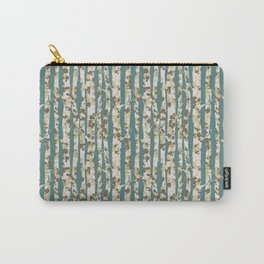 Inky Silver Birches - Ice Blue Carry-All Pouch
