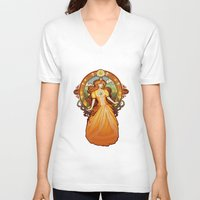nouveau V-neck T-shirts featuring Daisy Nouveau by Megan Lara