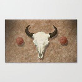 Bison Skull with Rose Rocks Canvas Print