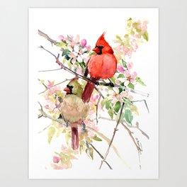 Cardinal Birds and Spring, cardinal bird design Art Print