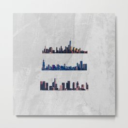 Chicago, New York City, And Los Angeles City Skylines Metal Print