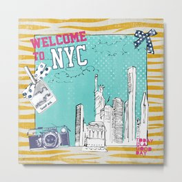 New York New York pillow and other products Metal Print