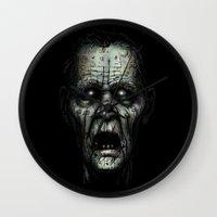 zombie Wall Clocks featuring Zombie by Havard Glenne