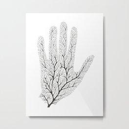 Hand Branches - Black Metal Print
