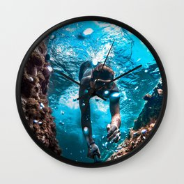 Diving in Spain Wall Clock