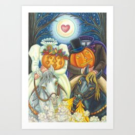 SLEEPY HOLLOW WEDDING - Brack Headless Horseman Halloween Art Art Print
