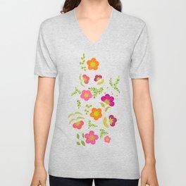 Bright Rounded Flowers on Bed of Dark Olive Leaves (pattern) Unisex V-Neck