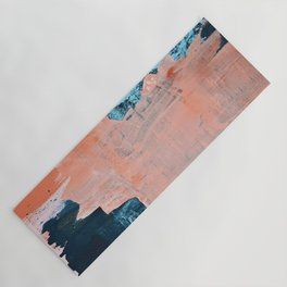 Delight [3]: a vibrant minimal abstract painting in blue and coral by Alyssa Hamilton Art Yoga Mat
