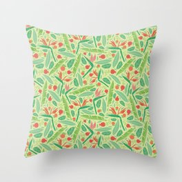 Strelitza with palm leaves and pomegranate on light green background Throw Pillow