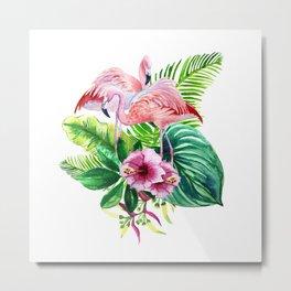 Tropical leaves and pink flamingo Metal Print