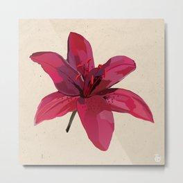 Lilies, Botanical Illustration, Colourful Floral Art, Digital Oil Paint, Single Red Flower Metal Print