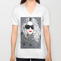 chic V-neck T-shirts featuring CHIC by The Curly Whirl Girly.