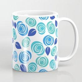 Pretty Aqua Blue and Teal Floral Pattern Coffee Mug