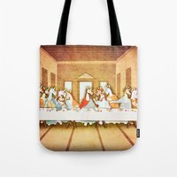the last unicorn Tote Bags featuring Last Supper Unicorn by That's So Unicorny