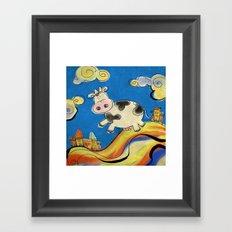 Cow - blue Framed Art Print