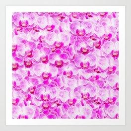 Pink Pattern Orchids Galore Art Print