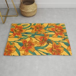 Tawny daylily flowers, blue and yellow Rug