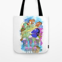 finding nemo Tote Bags featuring Disney Pixar Play Parade - Finding Nemo Unit by Joey Noble