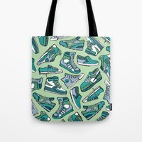 sneaker Tote Bags featuring Sneaker Lover in Green by Artwork by Brie