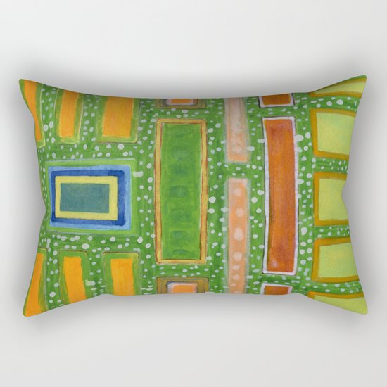 Filled Rectangles on Green Dotted Wall Rectangular Pillow