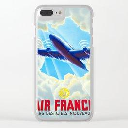 Vers Des Ciels Nouveaux -  Vintage Airline Poster Clear iPhone Case