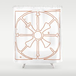 Fretwork Outlined in Orange Shower Curtain