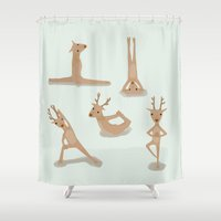 nirvana Shower Curtains featuring Yoga deer attain nirvana by Shawn Carney Art