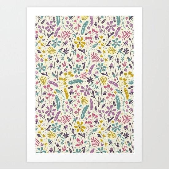 Retro Blooms (Candy) Art Print