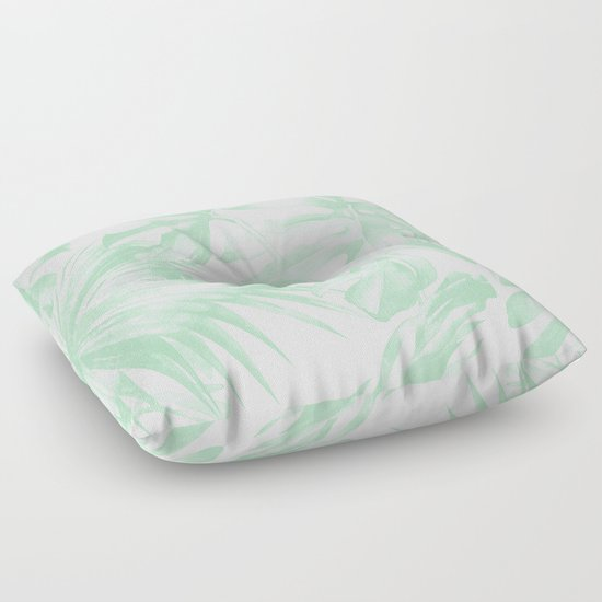 Green Floor Pillows : Light Green Tropical Palm Leaves Print Floor Pillow by Simple Luxe Society6