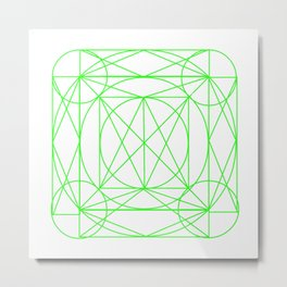 Stained Glass- Green Metal Print