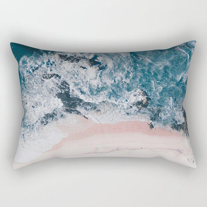 I love the sea - written on the beach Rectangular Pillow