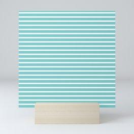 Nautical Teal Sea Breeze Horizontal Stripes Mini Art Print