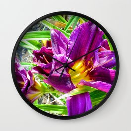 Purply Blooms Wall Clock