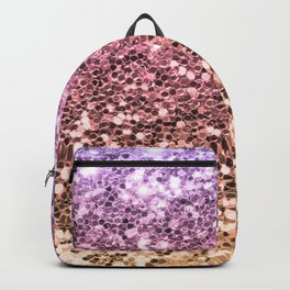 Ombre Mermaid Glitter Colorful Pink Gold Girly Chic Backpack