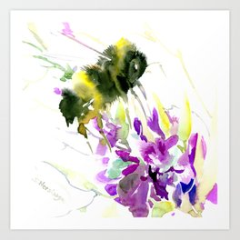 Bumblebee and Flowers floral bee design Art Print
