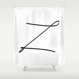 """ Singles Collection "" - One Line Minimal Letter Z Print Shower Curtain"