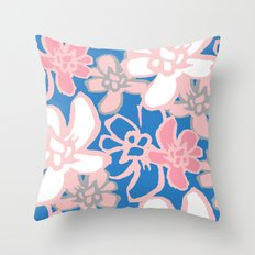 Camelia Woodcut Throw Pillow