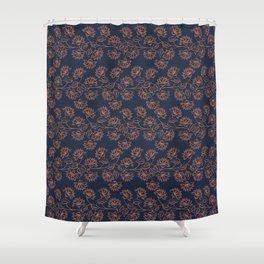 Georgian Floral - Orange on Navy Shower Curtain