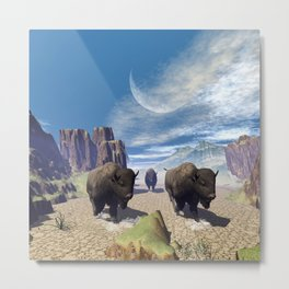 Awesome running bisons Metal Print