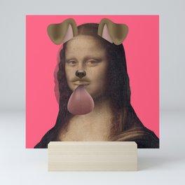 Mona Lisa by Leonardo da Vinci with Snapchat Dog Filter Mini Art Print