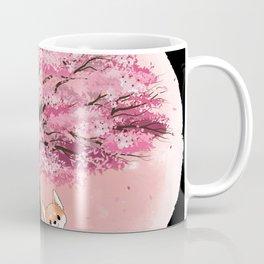 Cherry Blossom Pink Trees Shiba Inu Paws Coffee Mug
