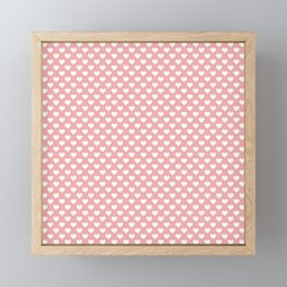 Large White Love Hearts on Blush Pink Framed Mini Art Print