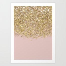 Pink and Gold Glitter Kunstdrucke