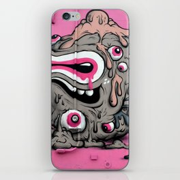 Urban Street Art: Pink Oozing Eye Creature (Buff Monster) iPhone Skin