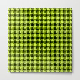 Large Slime Green and Black Hell Hounds Tooth Check Metal Print
