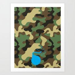 CAMO & LIGHT BLUE BOMB DIGGITY Art Print